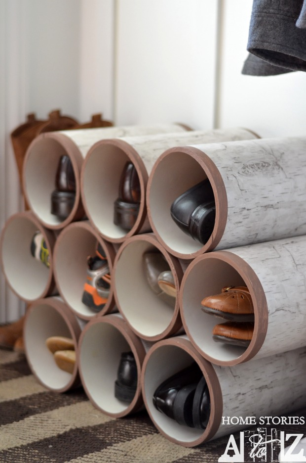 PVC pipe shoe organizer birch logs