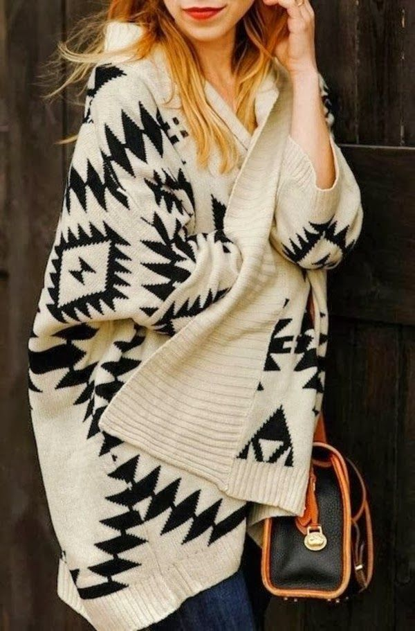 aztec sweater black cream