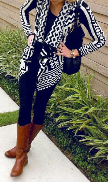 aztec sweater black white