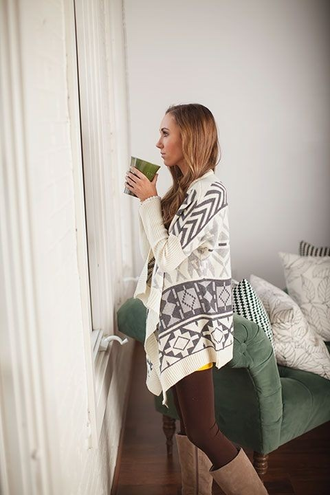 aztec sweater cream gray