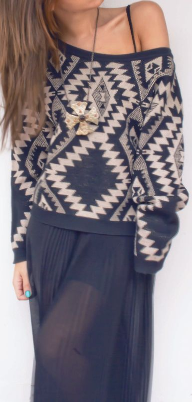 aztec sweater gray