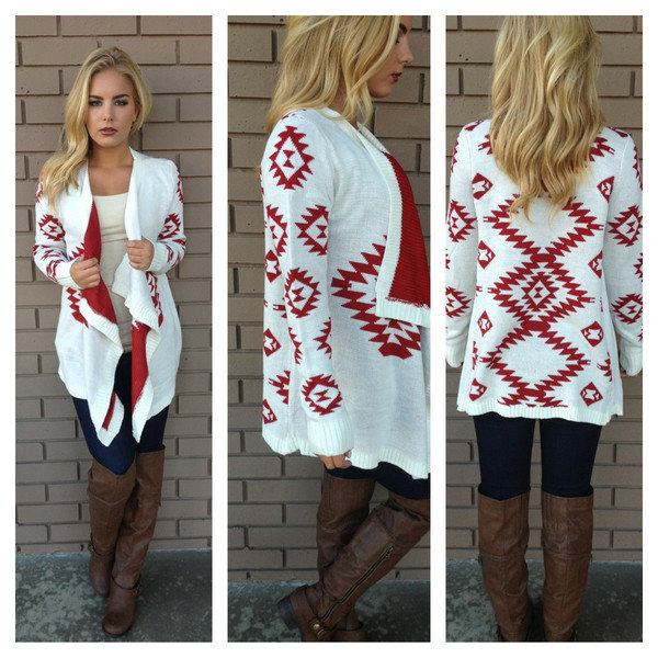 aztec sweater red white