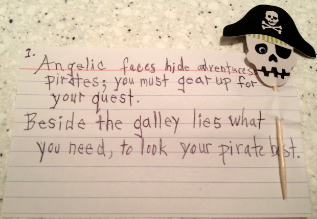 Pirate Party Treasure Hunt Clue 1