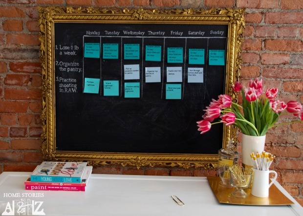 sticky note calendar goals