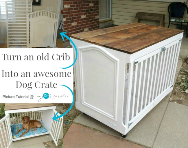 21 Stylish Dog Crates - Upcycled Crib to Dog Crate by MyLove2Create