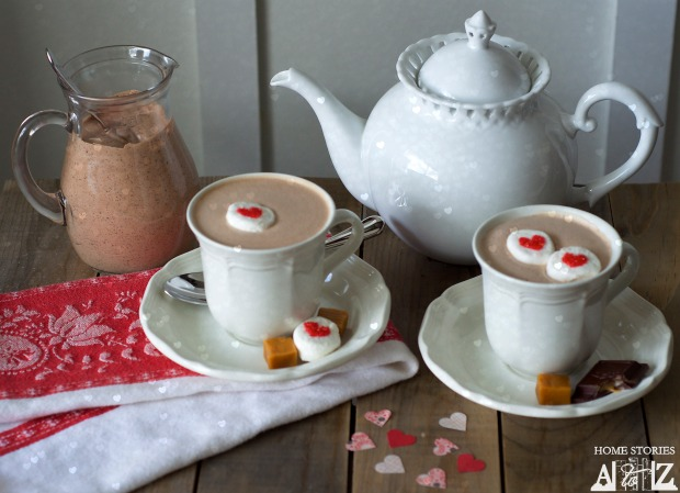 Valentine's Day Boozy Caramel French Hot Chocolate