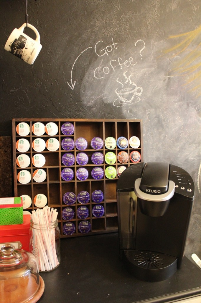 k cup storage from printer's tray