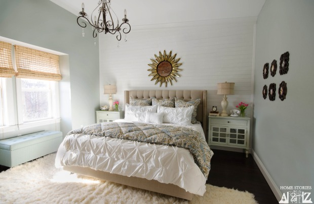 Master bedroom white plank wall