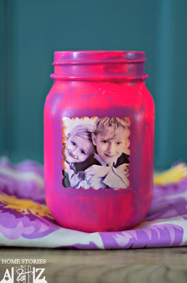Mason Jar Picture Frame Candle