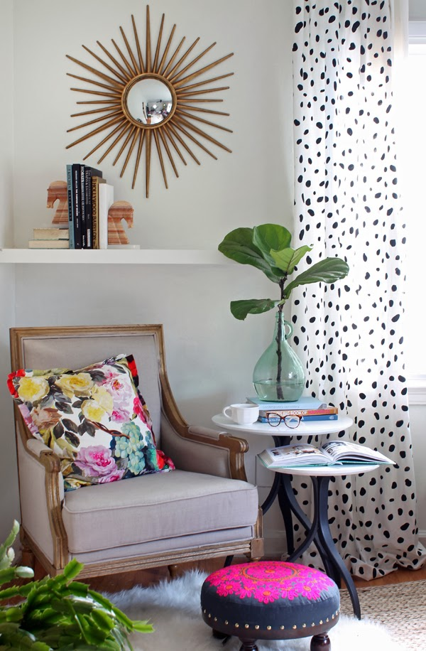 diy dalmatian print curtains stencil