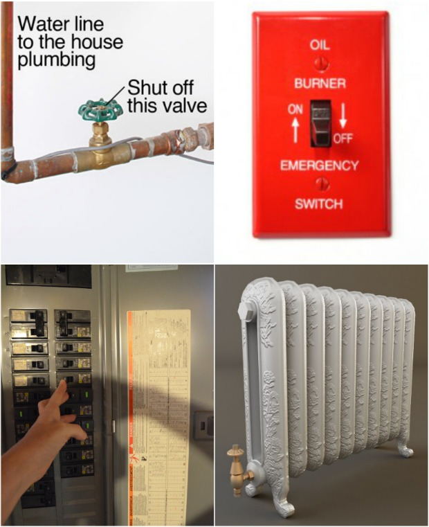 how to turn off water, electric, gas