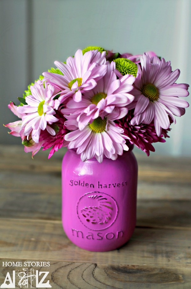 mason jar vase in radiant orchid