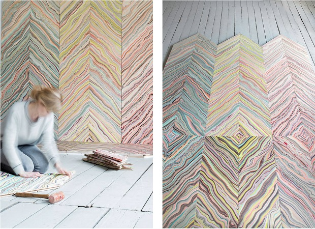pastel marbled wood floors