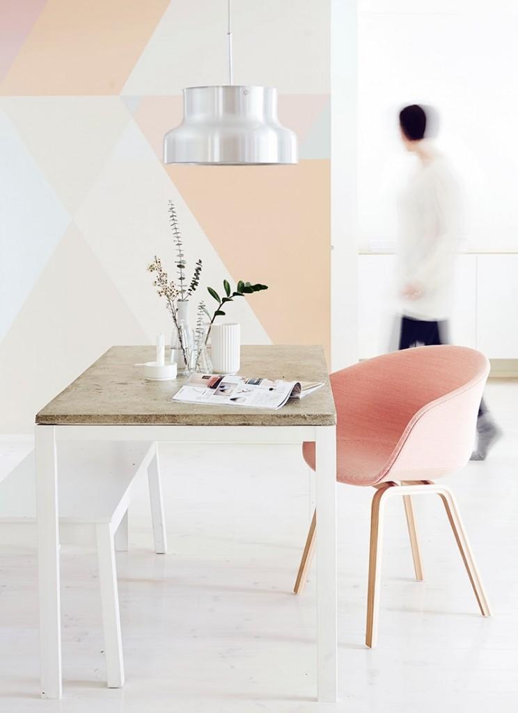 pastel pink geometric wall