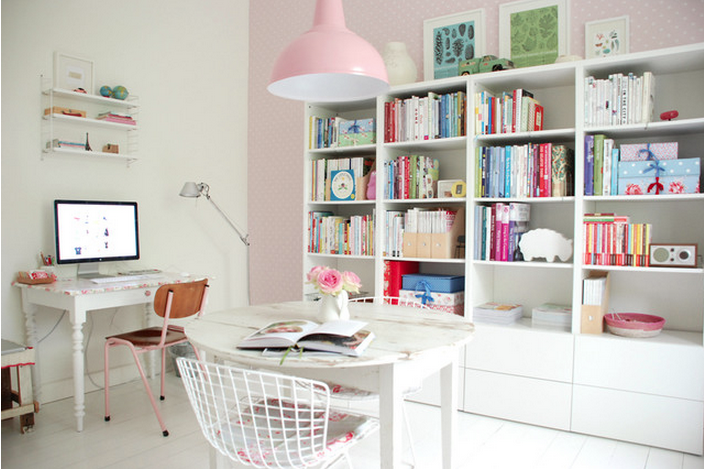 pink pastel office