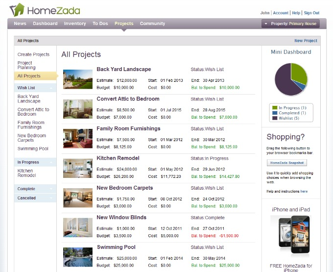 HomeZada-Projects