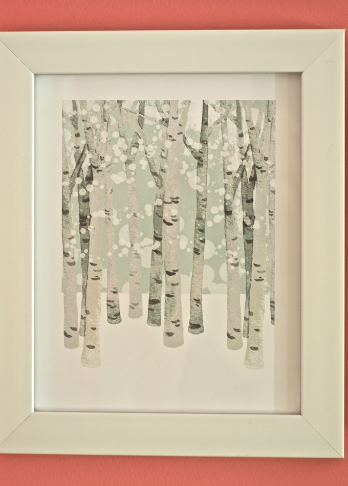 birch woods in winter minted print