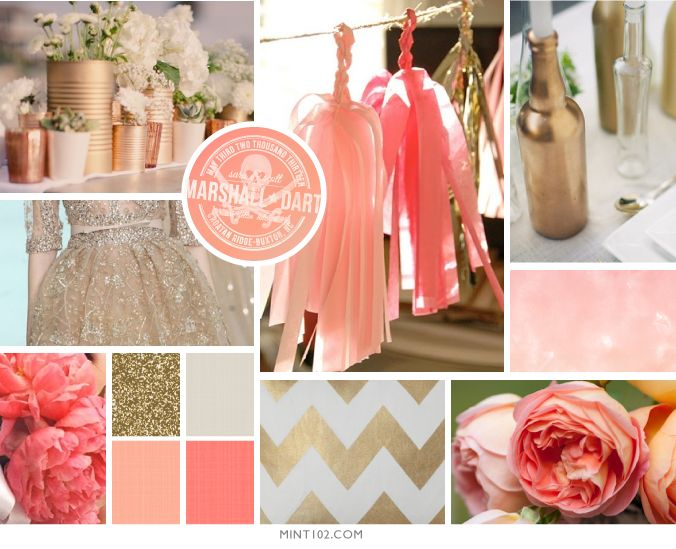 gold and coral color palette