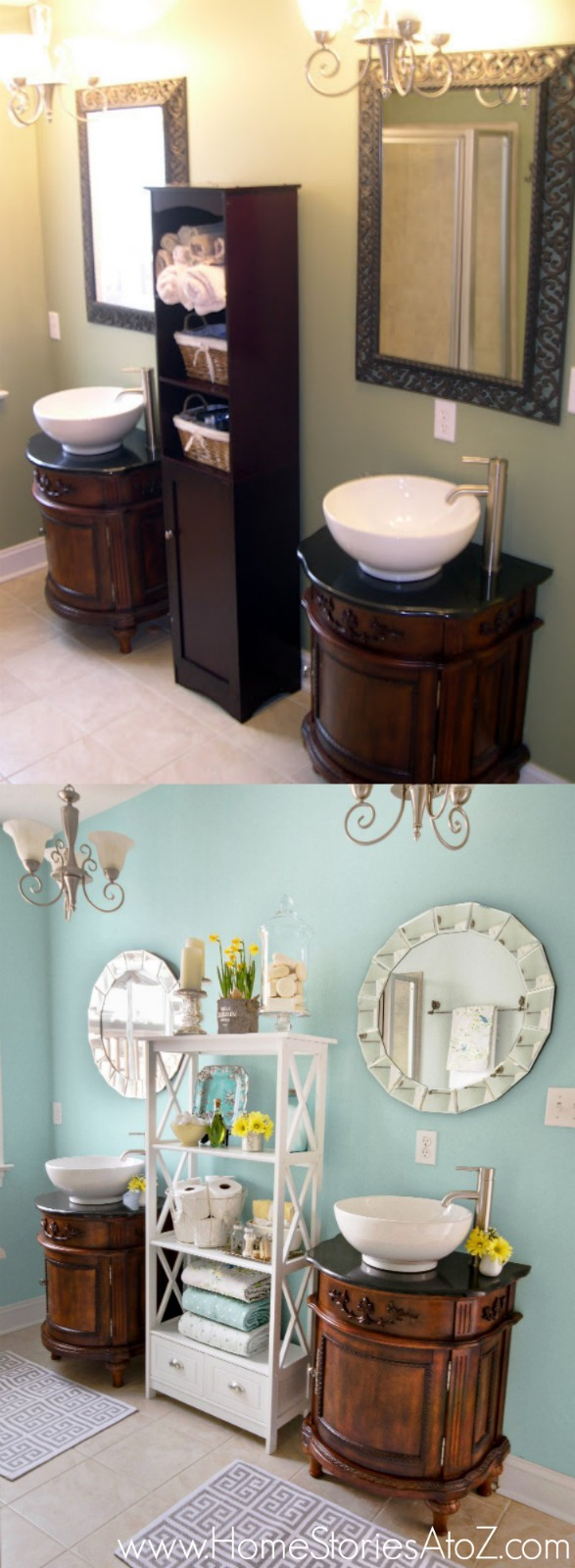 Bathroom makeover in Sherwin-Williams Watery