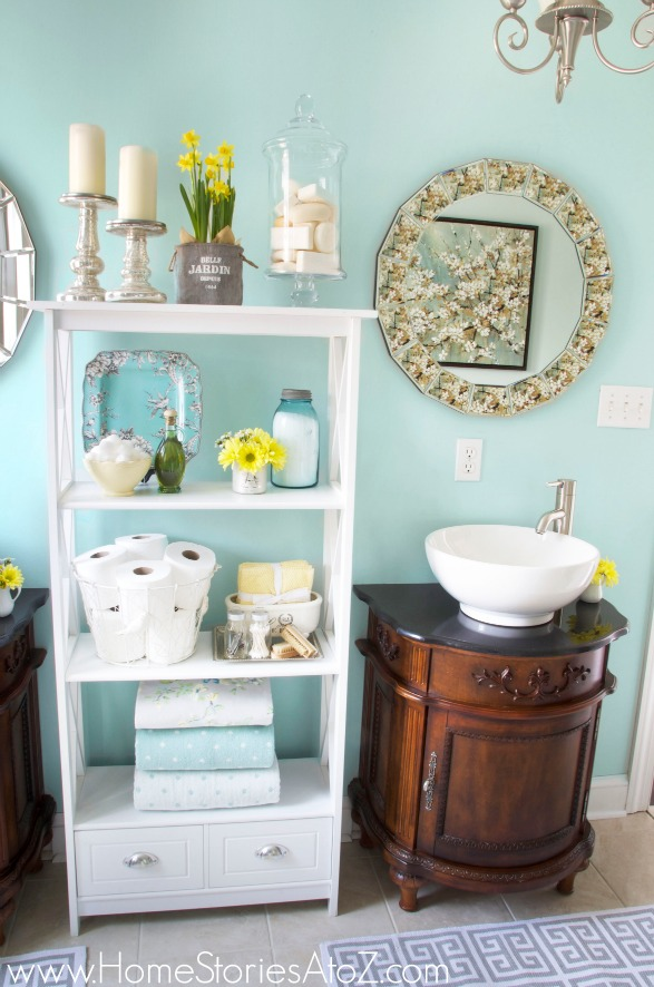 blue bathroom makeover