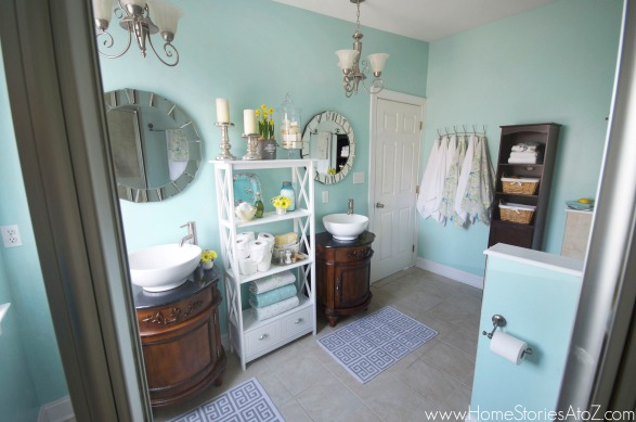 Blue bathroom reveal