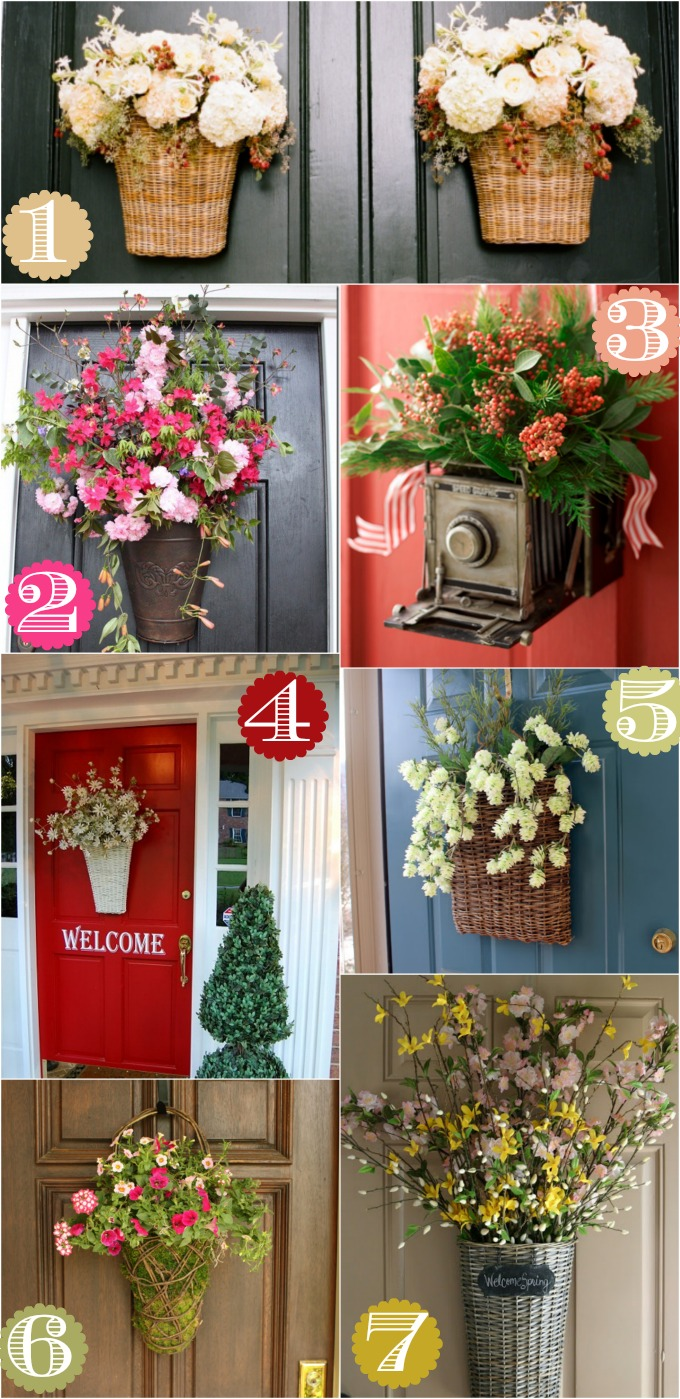 Flower basket hanger door decor