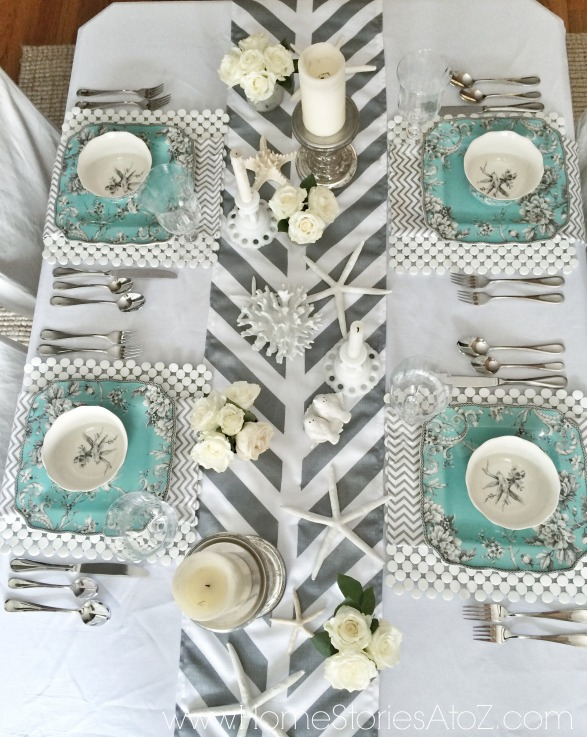 Gray and turquoise tablescape