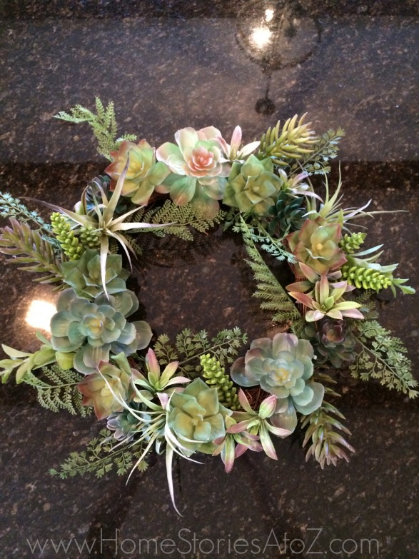 Use succulent wreath as filler