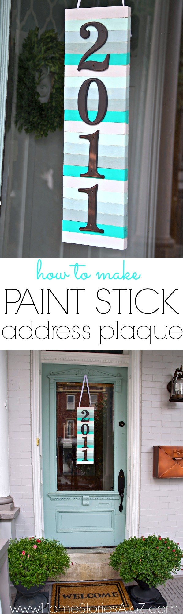 Paint stick address plaque