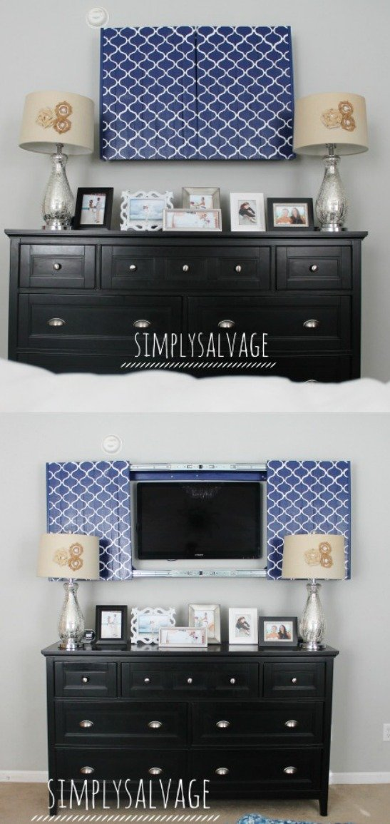 5 tips for decorating around a television home stories a for Tv cabinets hidden flat screens