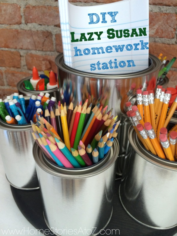 DIY lazy susan homework station