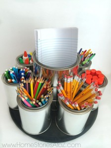 Do it yourself lazy susan for art supplies