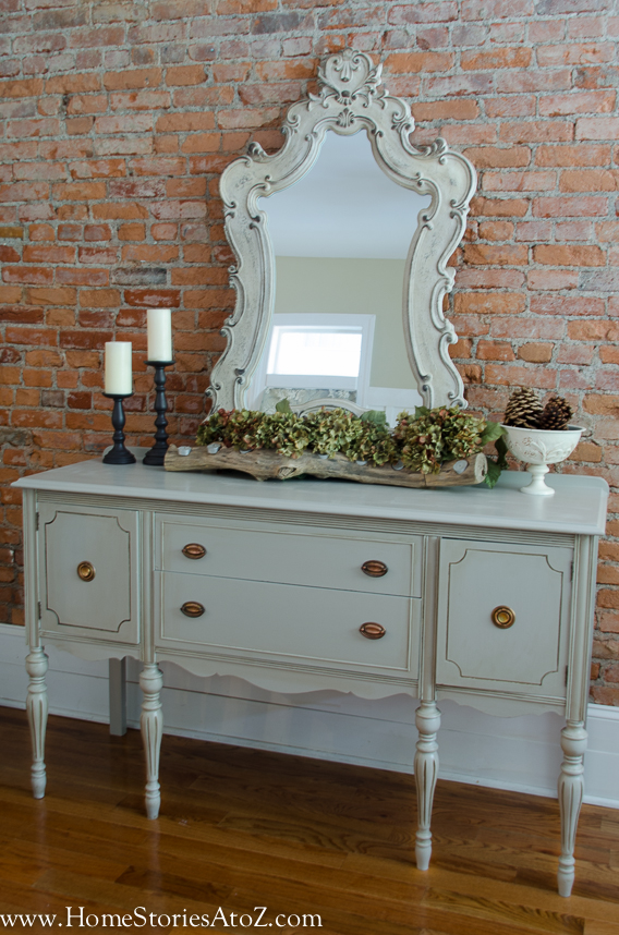 Gray painted buffet