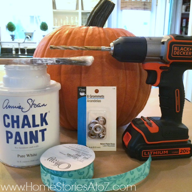 Supplies needed for ribbon grommet pumpkin