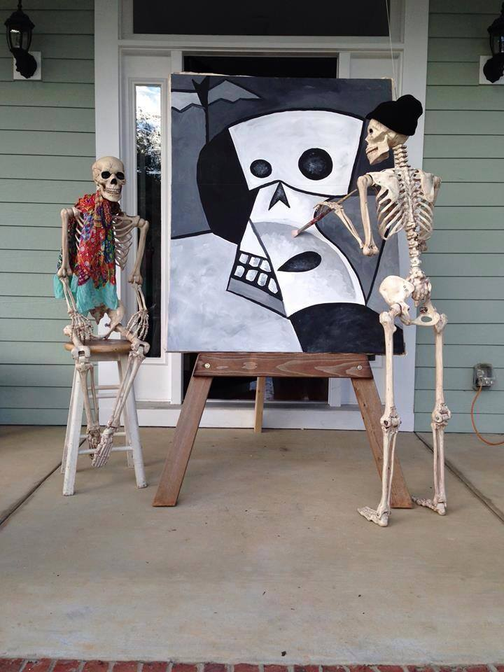 Diy halloween yard decorations - Halloween House Decorating Ideas The Baxter Skeletons