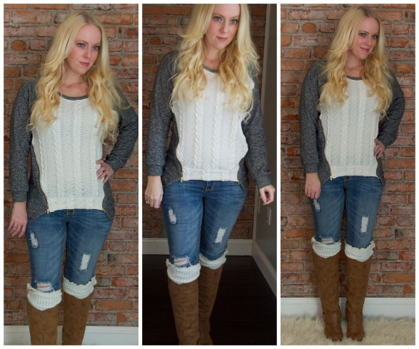 Cable Knit Zipper Sweater