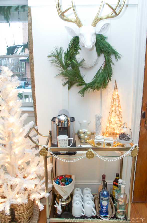 Christmas styled coffee bar cart