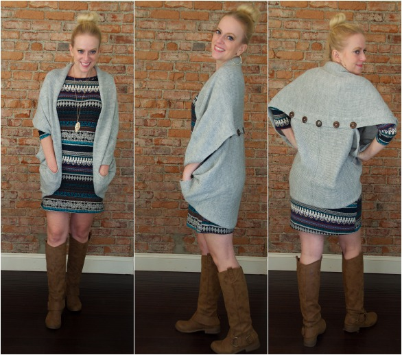 Tribal dress and Button Back Sweater