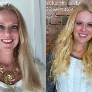 before and after Hairfinity hair vitamins