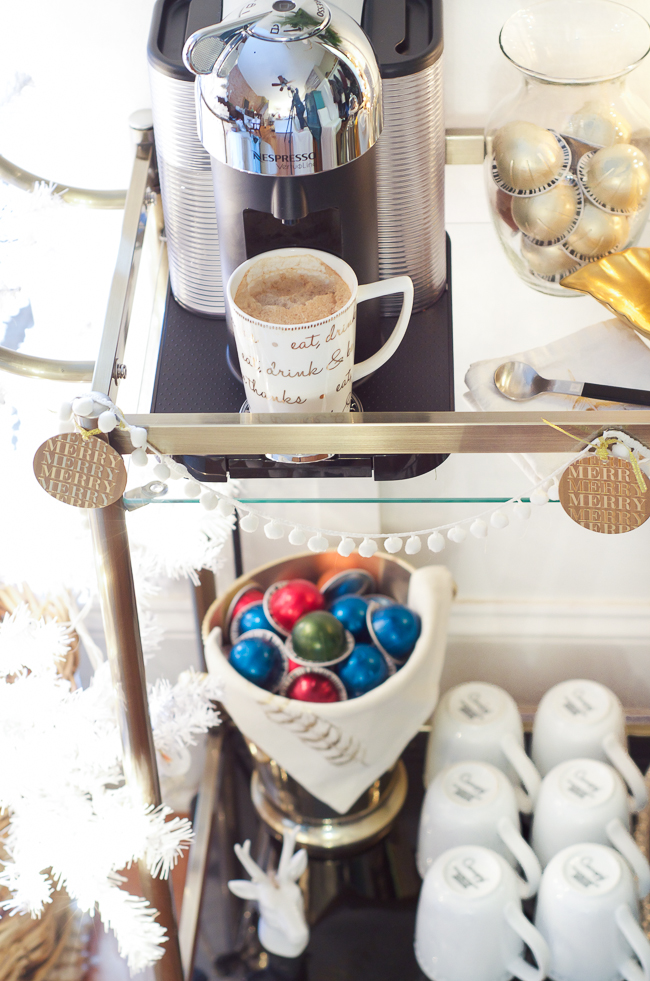 Styled coffee bar cart