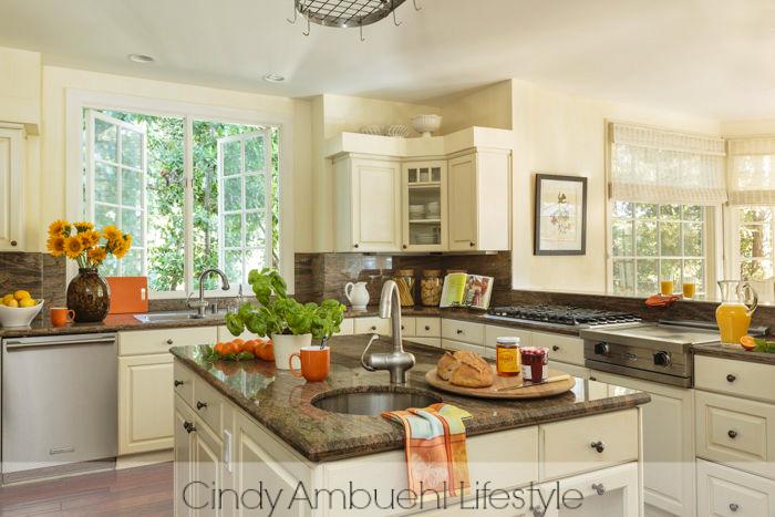 granite counters cream cabinets