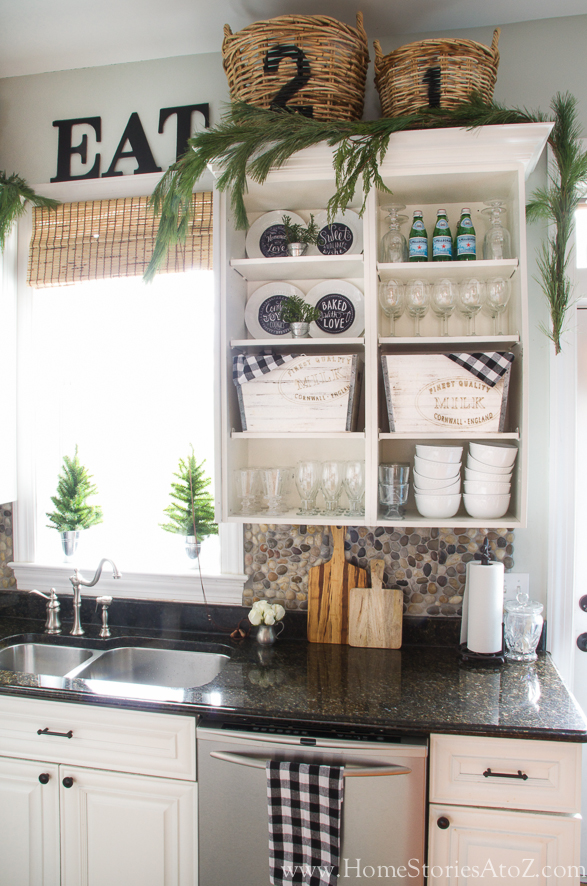 Black white green Christmas kitchen