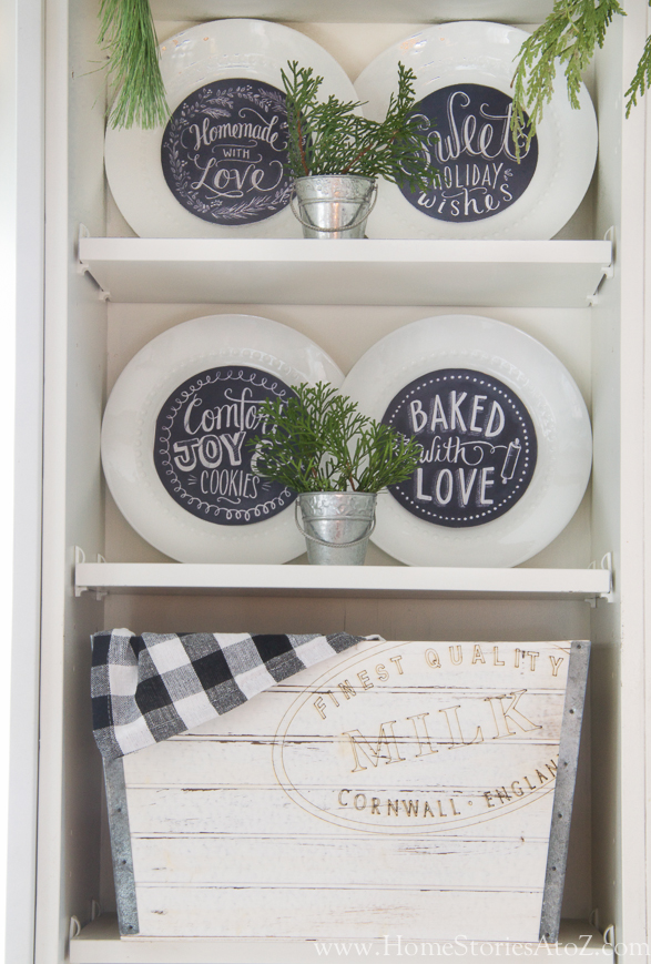 Christmas kitchen chalkboard art plates