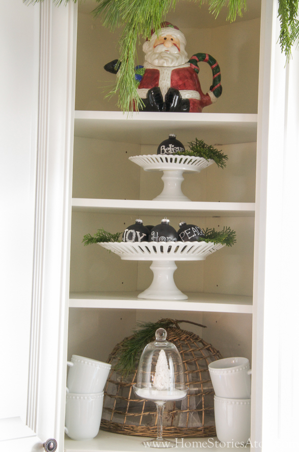 Christmas kitchen styled shelves