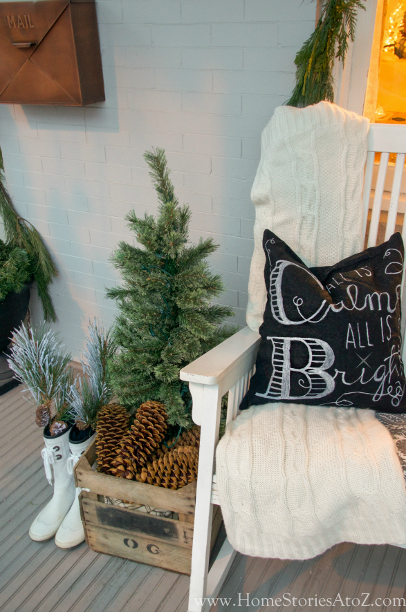 Christmas porch decorating idea rocking chair