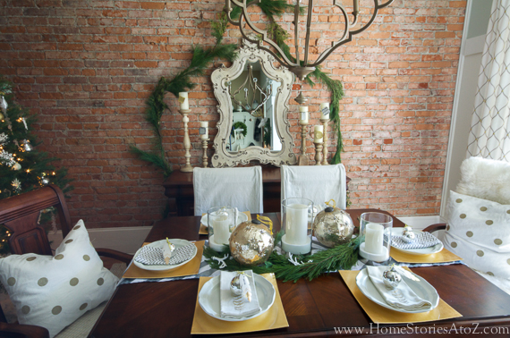 Gold Christmas Dining Room