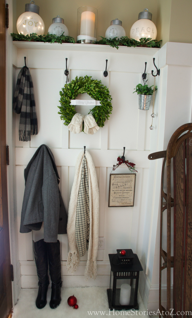 Neutral Christmas Mudroom