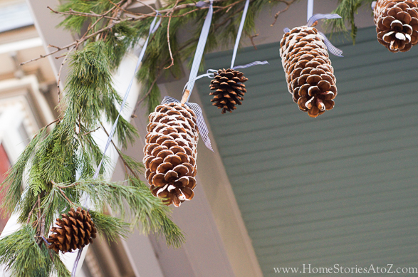 Pinecones from ribbons decorating idea