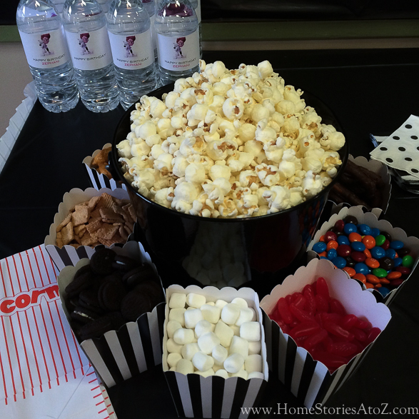 Movie theme birthday party popcorn bar-2