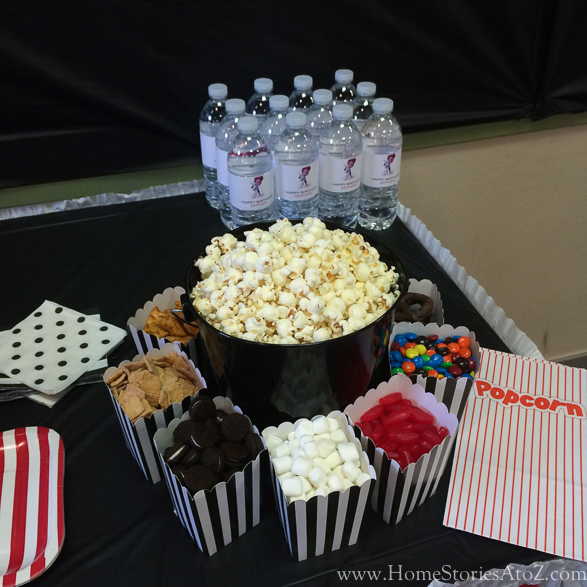 Movie theme birthday party popcorn bar-5